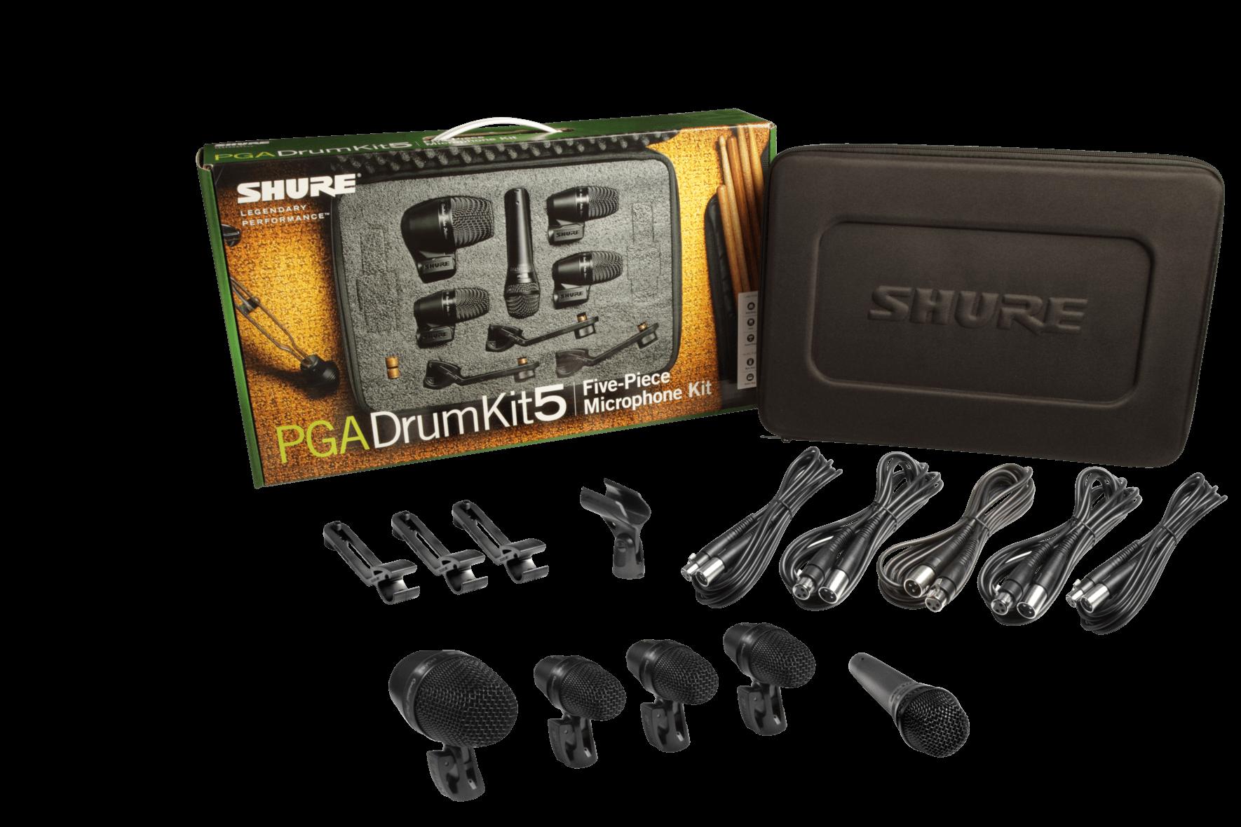 Shure PGADRUMKIT5 Paquete de 5 micrófonos p/batería, 3 x pga56, 1 x pga52, 1 x pga57