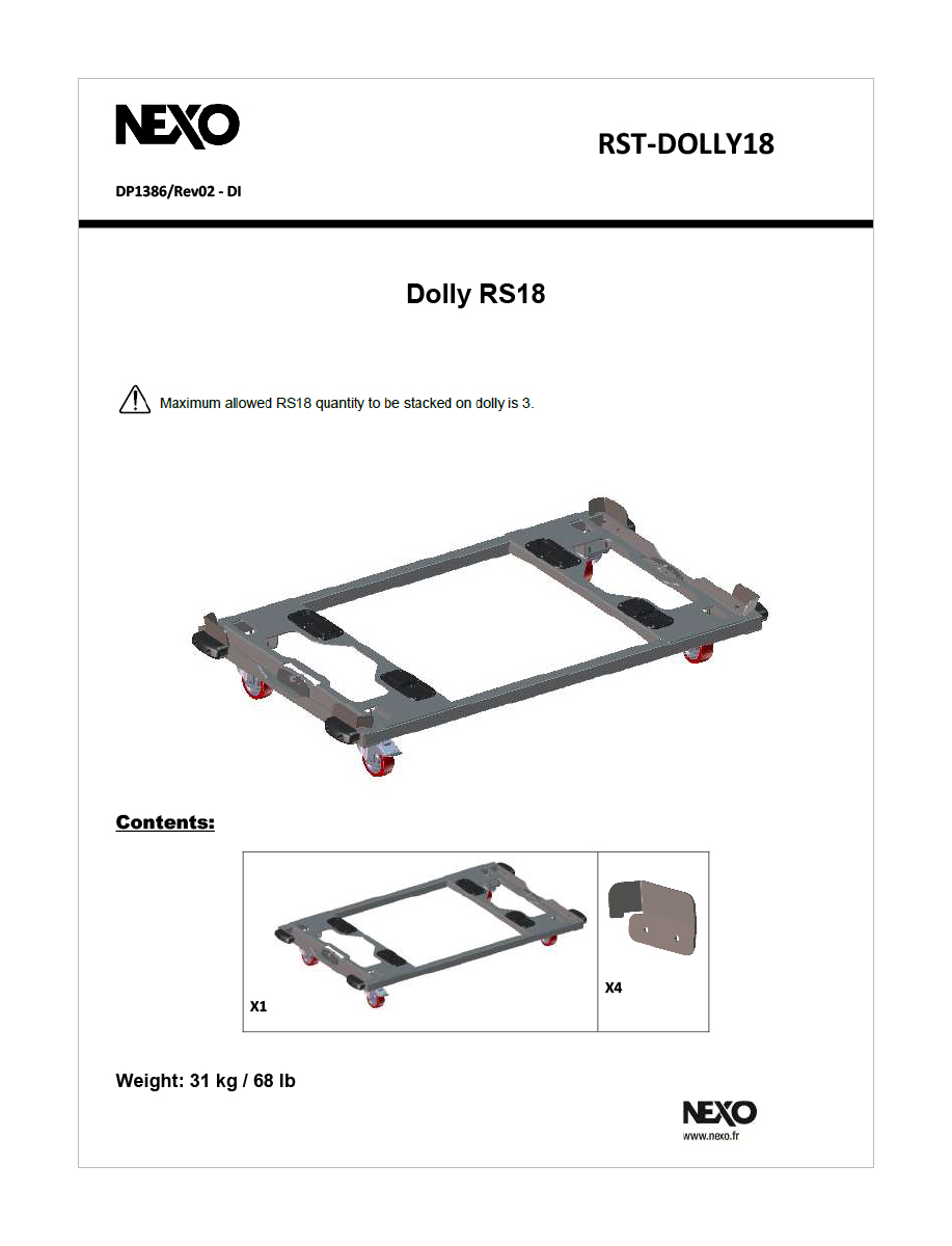 Dolly metálico para transporte de hasta tres rs.18-Pt.-Rst- dolly18