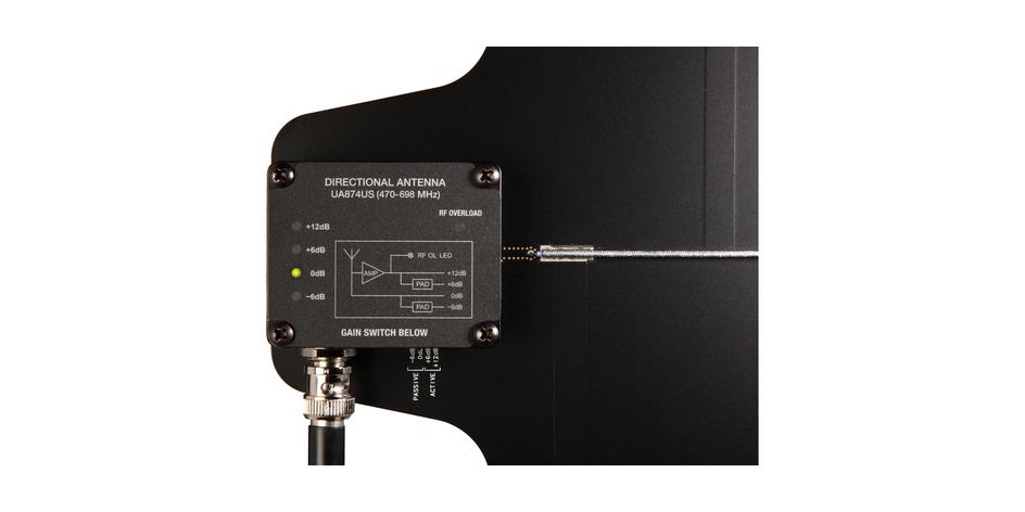 Antena direccional activa, selección de ganancias entre +12, +6, 0 y -6db, 470 a 900hz-UA874wb