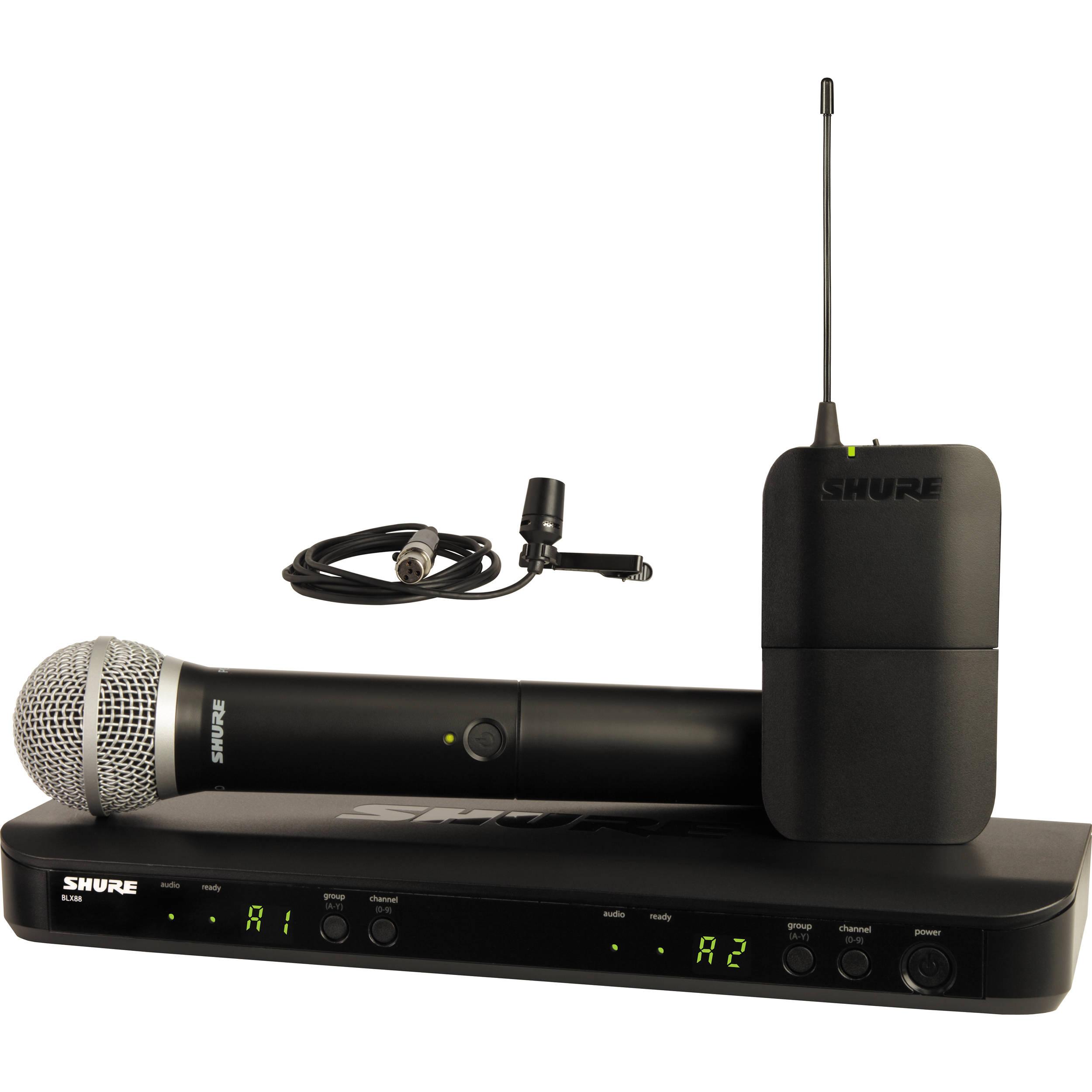 Shure BLX1288/CVL Combo con receptor doble  dos transmisores micrófonos lavalier y de mano